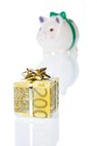 Money gift box of 200 euro with piggy bank. Money gift box of 200 euro and piggy bank isolated on a white background Royalty Free Stock Image