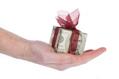 Money gift box of 5 dollar. Money gift box with red ribbon, 5 dollar bill, isolated on a white background