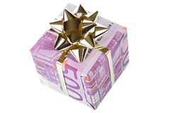 Money gift box of 500 euro. Isolated on a white background, top view Stock Image