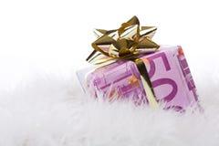 Money gift box of 500 euro. Isolated on a white background Stock Photos