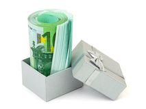 Money in gift box Stock Images