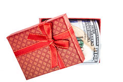 Money in gift box Stock Photo