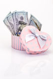 Money in gift box Royalty Free Stock Photos