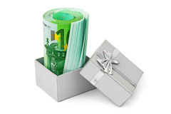 Money in gift box Royalty Free Stock Photography