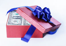 Money in gift box Royalty Free Stock Image