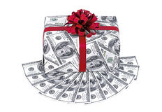 Money gift box with red ribbon and stack of dollars. Isolated on a white background royalty free stock images