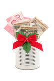Money gift for christmas Royalty Free Stock Photos