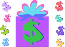 Money Gift and Dollar Signs Royalty Free Stock Images