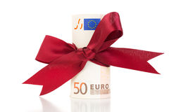 Money gift - Euro bills with a ribbon Royalty Free Stock Image