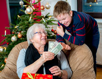 Money- gift for grandson Royalty Free Stock Photos