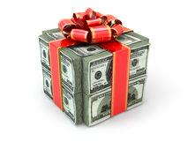 Money gift. Pack of dollars and red ribbon. Stock Photo