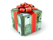 Money gift. Pack of euros and red ribbon. Royalty Free Stock Photos