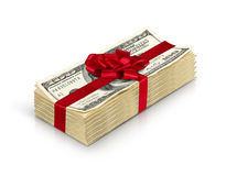 Money gift, stack of cash with red bow isolated on white backgro Royalty Free Stock Image