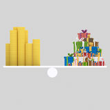 Money and gifts balance. 3D Royalty Free Stock Image