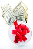Money and girft box Royalty Free Stock Images