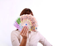 Money girl. Attractive woman with a lot of euro money cash stock photo