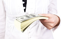 Money in a giving hand Royalty Free Stock Photo