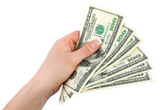 Money in a giving hand Stock Images
