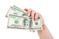 Money in a giving hand Stock Image