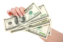 Money in a giving hand Stock Photo