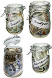 Money in the glass jar as savings isolated objects set Stock Images