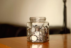 Money in glass jar. Coin money in glass jar Royalty Free Stock Image