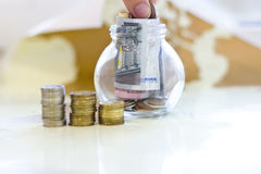 Money in a glass jar. Stock Image