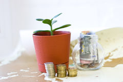 Money in a glass jar. Royalty Free Stock Photos