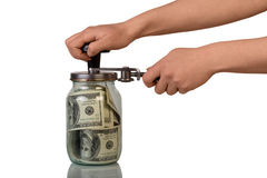 Money in glass jar Royalty Free Stock Photos
