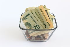 Money in glass vase Royalty Free Stock Image