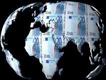 Money globe. With a lot of Euro Stock Photography