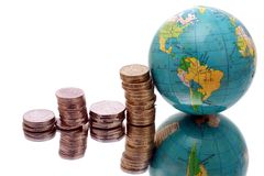 Money and globe Royalty Free Stock Photography