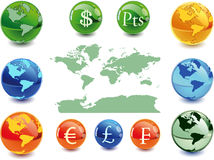 Money globe. Colour globe kit and money signs from different countries, vector background. Vector illustration - fully editable Royalty Free Stock Photos