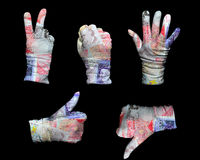Money gloves. Hands in white gloves wrapped with UK pounds background Stock Photography