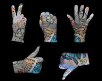 Money gloves Royalty Free Stock Photos