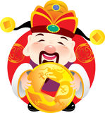 Money God holding an ancient golden coin. Money God holding an ancient golden in Chinese New year Royalty Free Stock Image