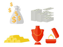 Money gold and accessories vector. Make Money gold and accessories show vector set Royalty Free Stock Photography
