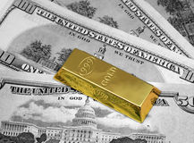 Money and gold bullion. The money dollars and gold bullion Royalty Free Stock Images