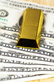The money  and gold bullion Stock Image