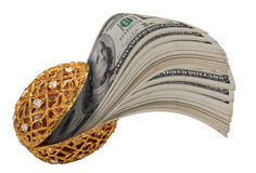 Money in gold clam shell Royalty Free Stock Images