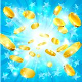 Money Gold Coins and Stars Jackpot Background. A money gold coins and stars jackpot win concept background Stock Photo