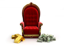 Money and gold lie next to Stock Images