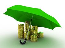 Money of gold under the umbrella of royalty free stock photo