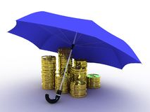 Money of gold under the umbrella of, 3D. Images Stock Photos