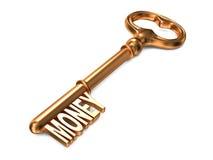 Money - Golden Key. Money - Golden Key on White Background. 3D Render. Business Concept Royalty Free Stock Photo