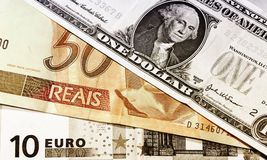 Money is good!. Dolar, real and Euro. Money for all the world Stock Image