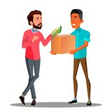 Money Goods Relationship, Man Giving Money To Man With A Product Vector. Isolated Illustration. Money Goods Relationship, Man Giving Money To Man With A Product royalty free illustration
