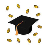 Money and graduation hat illustration. Concept of education costs Royalty Free Stock Image