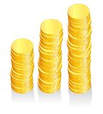 Money graph. Vector graph with golden coins, fully editable Stock Image