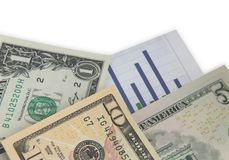 Money and graph Royalty Free Stock Images